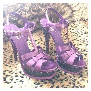 YSL purple heels